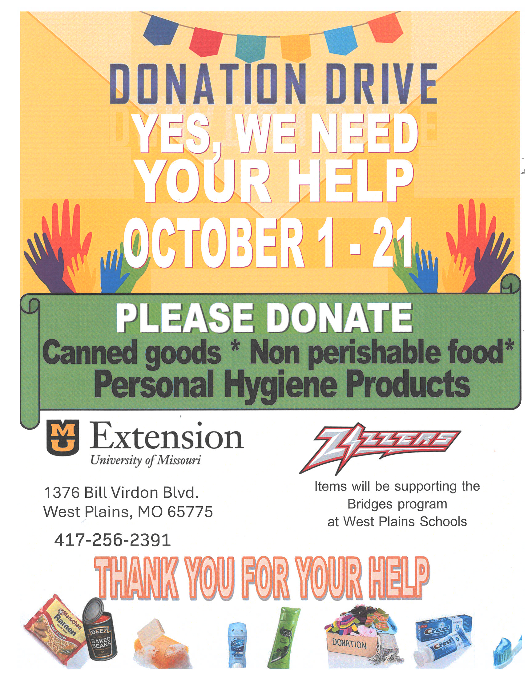 Donation Drive to Support the Bridges Program @ University of Missouri Extension center