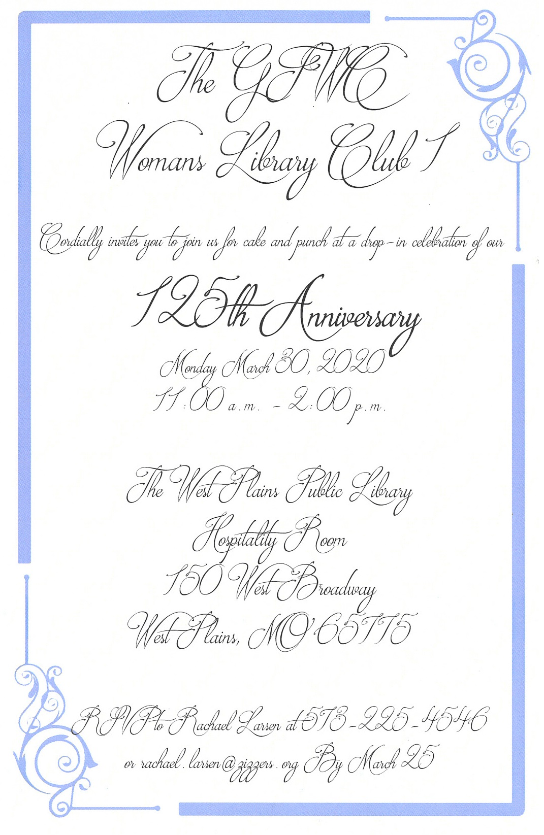 **Postponed**Womans Library Club 125th Anniversary @ West Plains Library