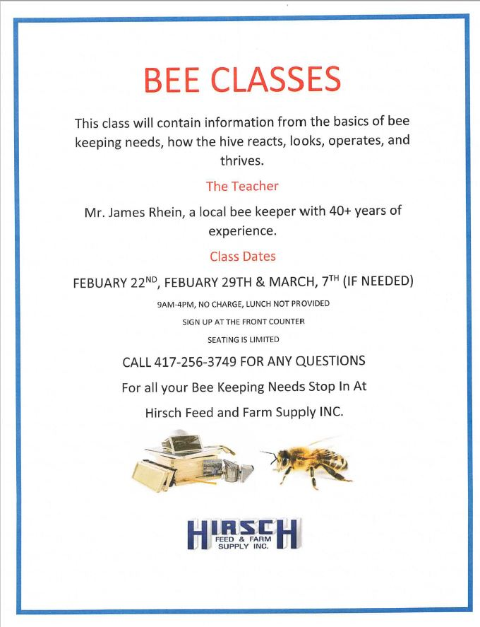 Bee Classes @ Hirsch Feed & Farm Supply