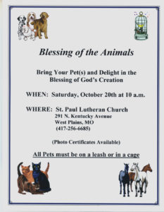 Blessing of the Animals @ St. Paul Lutheran Church