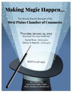 The West Plains Chamber of Commerce Annual Awards Banquet @ West Plains Civic Center