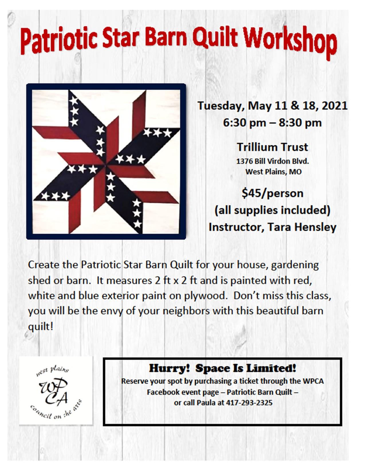 Patriotic Star Barn Quilt Workshop @ Trillium Trust Community Center